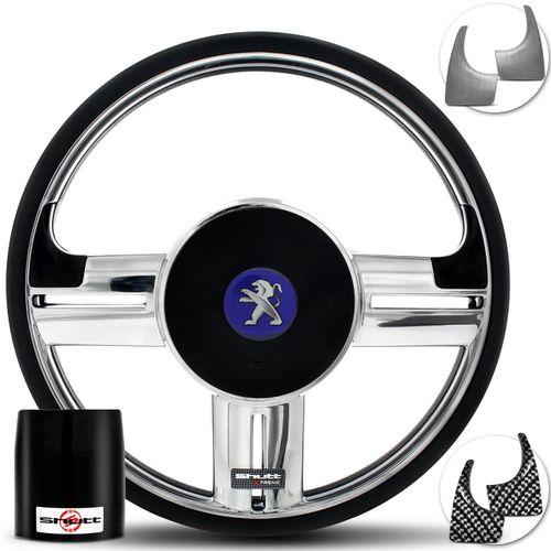 Volante-Shutt-Surf-Cromado-Xtreme-Apliques-Preto-Prata-Escovado-Carbono---Cubo-Peugeot-206-306-207-Connect-Parts--1-
