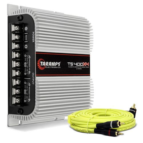 Modulo-Amplificador-Taramps-TS400-400W-RMS-2-Ohms-4-Canais---Cabo-RCA-5-M-2-Vias-Dupla-Blindagem-Connect-Parts--1-