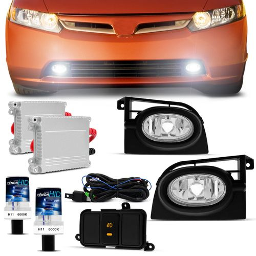Kit-Farol-Milha-New-Civic-2006-2007-2008-Auxiliar-Neblina---Xenon-6000K-Connect-Parts--1-