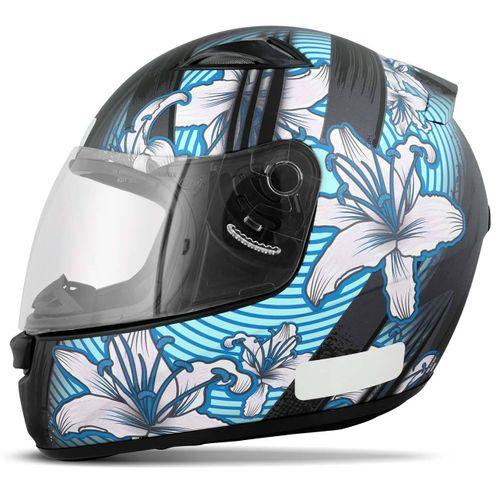 Capacete-Feminino-Fechado-E0X-Flowers-Preto-Fosco-Azul-connectparts--1-