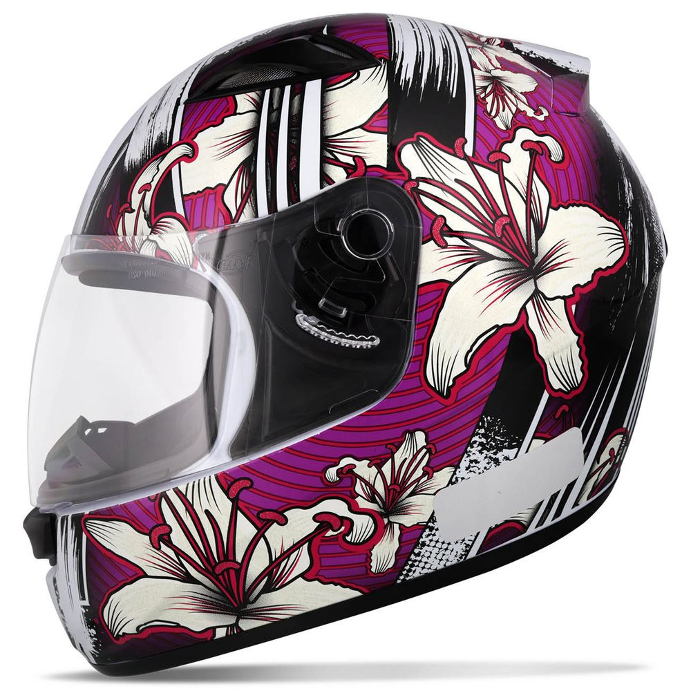 Capacete Fechado EBF E0X Flowers Feminino Branco e Lilás Moto 1710239d63