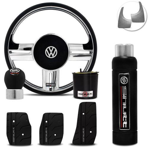 Volante-Shutt-Rallye-Cromado-Xtreme-Cubo-Fusca-Voyage-Passat-Todos-VW--kit-Black-connect-parts--1-