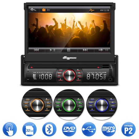 DVD-Player-Quatro-Rodas-1-Din-7-Pol-Retratil-BT-USB-MicroSD-com-Camera-Re-Colorida-Mini-Tartaruga-connect-parts--1-