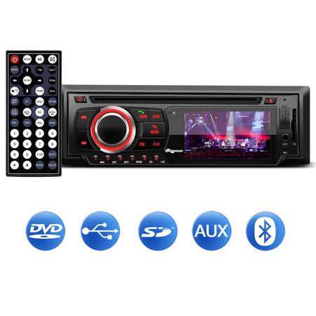 DVD-Player-Quatro-Rodas-1-Din-Tela-LED-3-Pol-BT-USB-MP3-SD-AUX-com-Camera-Re-Colorida-Mini-Tartaruga-connect-parts--1-