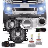 Kit-Farol-Milha-Ranger-12-a-15-Aro-Cromado---Par-Super-LED-3D-Headlight-H11-6000K-9000LM-connect-parts--1-