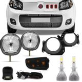 Kit-Farol-Milha-Uno-Way-Attractive-10-a-17-Fiorino-14-a-17---Par-Lampadas-Super-LED-H1-6000K-6400LM-Connect-Parts--1-