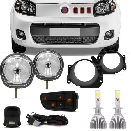 Kit-Farol-Milha-Uno-Way-Attractive-10-a-17-Fiorino-14-a-17---Par-Lampadas-Super-LED-H1-6000K-6400LM-Connect-Parts--1-