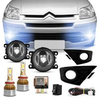 Kit Farol Milha C4 Hatch Pallas 2008 a 2012 com Par de Lâmpadas Ultra LED Full H11 6000K 8000LM