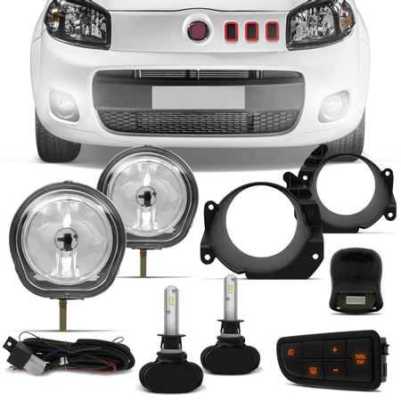 Kit-Farol-Milha-Uno-Way-Attractive-10-a-17-Fiorino-14-a-17---Par-Lampadas-Ultraled-H1-6000K-connect-parts--1-