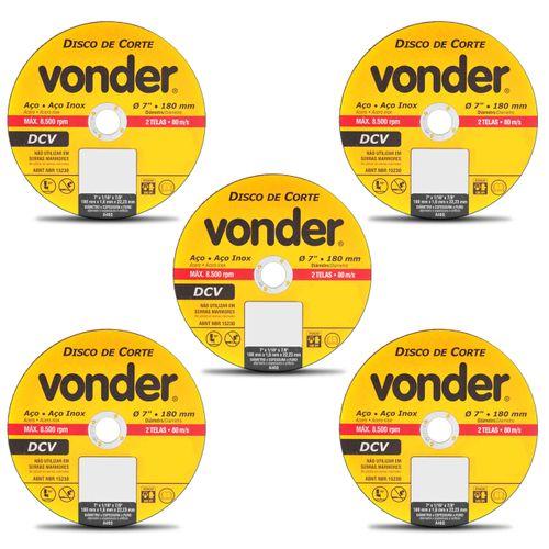 Kit-com-5-Discos-de-Corte-Vonder-Aco-e-Aco-Inox-7-Polegas-180mm-8500-RPM-2-Telas-80-m-s--1-