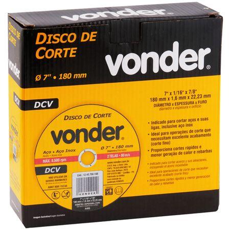 Kit-com-5-Discos-de-Corte-Vonder-Aco-e-Aco-Inox-7-Polegas-180mm-8500-RPM-2-Telas-80-m-s--3-