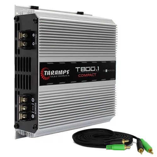 Modulo-Amplificador-Taramps-T800.1-Compact-800W-RMS-1-Canal-2-Ohms---Cabo-RCA-4mm-5-Metros-connect-parts--1-