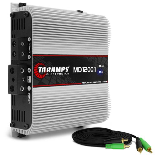 Modulo-Amplificador-Taramps-MD1200.1-1200W-RMS-1-Ohm-1-Canal---Cabo-RCA-4mm-5-Metros-connect-parts--1-