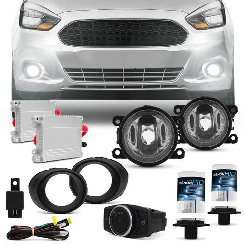 Kit-Farol-Milha-Ford-Ka-15-a-17-Aro-Preto-Auxiliar-Neblina---Par-xenon-H11-6000K-com-Reator-connect-parts--1-