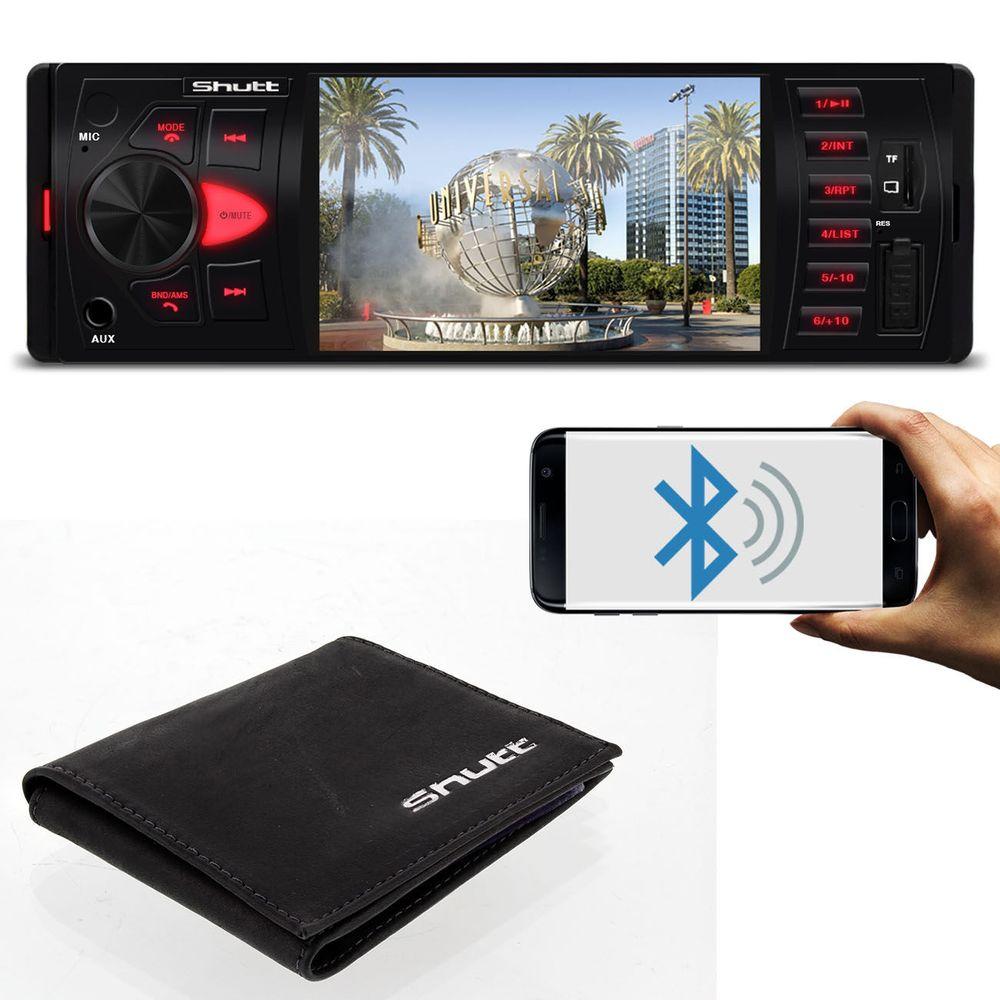 b8b344732 MP5 Player Los Angeles Shutt 4 Pol Bluetooth MP3 USB SD + Carteira Shutt em Couro  Preto e Vermelho