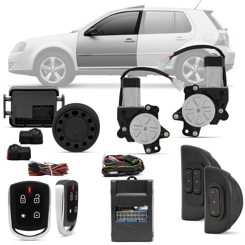 c8c07e25f55 Kit Vidro Elétrico VW Golf Polo Hatch Sedan 00 A 15 4 Portas Sensorizado +  Alarme Pósitron PX360BT