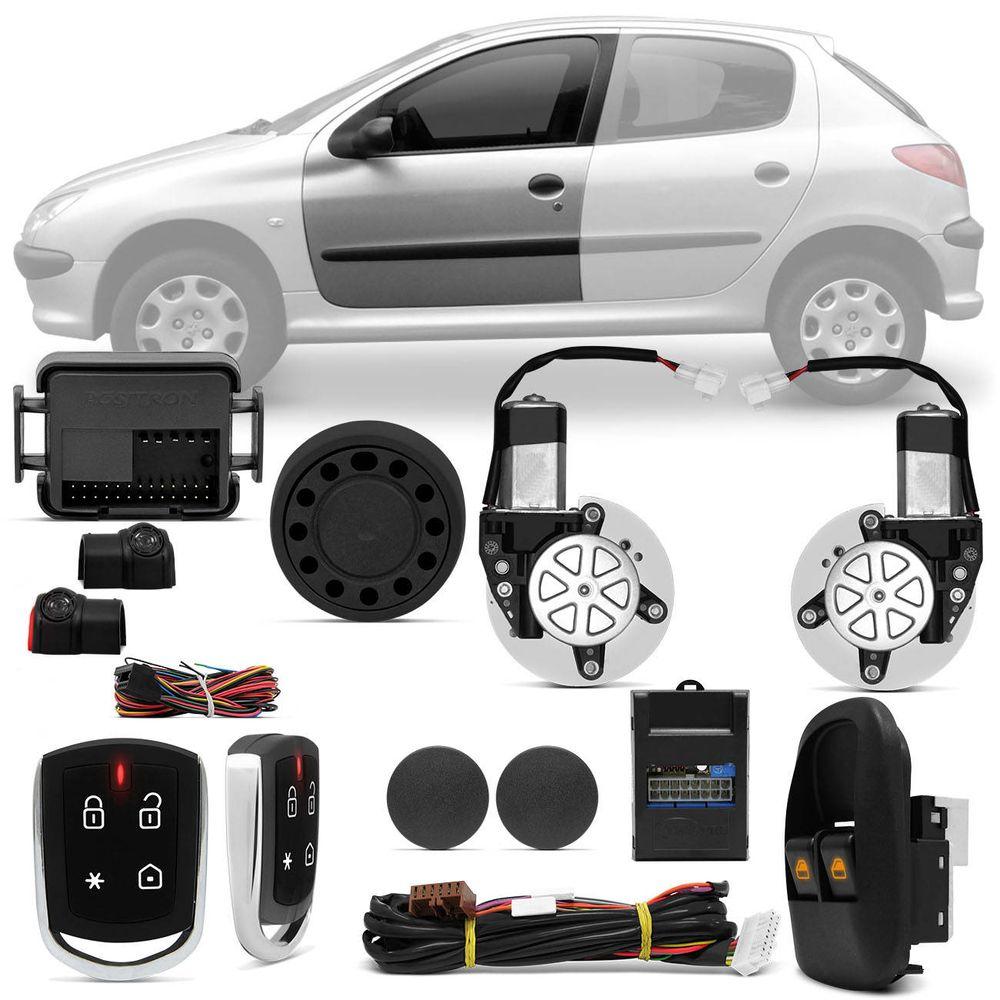 3b62c7a9943 Kit Vidro Elétrico Peugeot 206 98 A 07 2 E 4 Portas Sensorizado Dianteiro +  Alarme Pósitron PX360BT