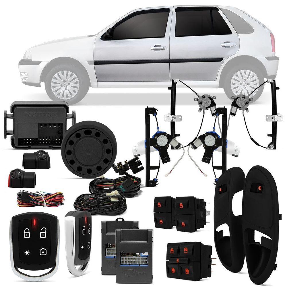 c6dad49c5d6 Kit Vidro Elétrico Volkswagen G3 GOL Parati 00 A 05 4 Portas Sensorizado  Grafite + Alarme Pósitron