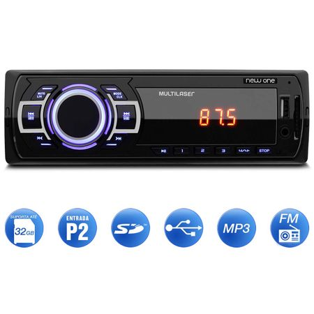 MP3-Player-Automotivo-Multilaser-New-One-P3318-1-Din-USB-SD-AUX-MP3-FM---Pen-Drive-8-GB-connectparts---1-