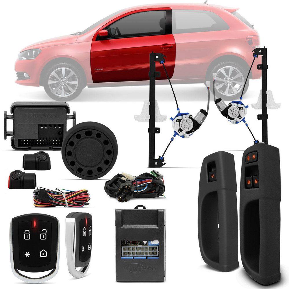 92ef00b132f Kit Vidro Elétrico Gol G6 G7 Saveiro G5 G6 G7 2 Portas + Alarme Pósitron  Cyber PX360BT Bluetooth