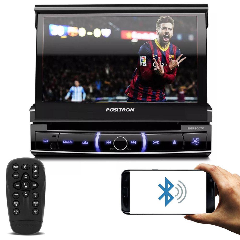 4041fa390c DVD Player Automotivo Positron SP6720 DTV 1 Din 7 Pol Retrátil Bluetooth  USB Micro-SD TV AUX RCA FM