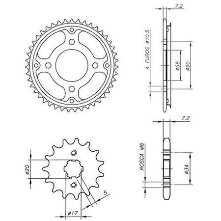 Kit-Coroa-Pinhao-Cp-Temperado-Honda-Cg150-Fan-Titan-Es-Ks-Titan-Mix-connectparts---4-