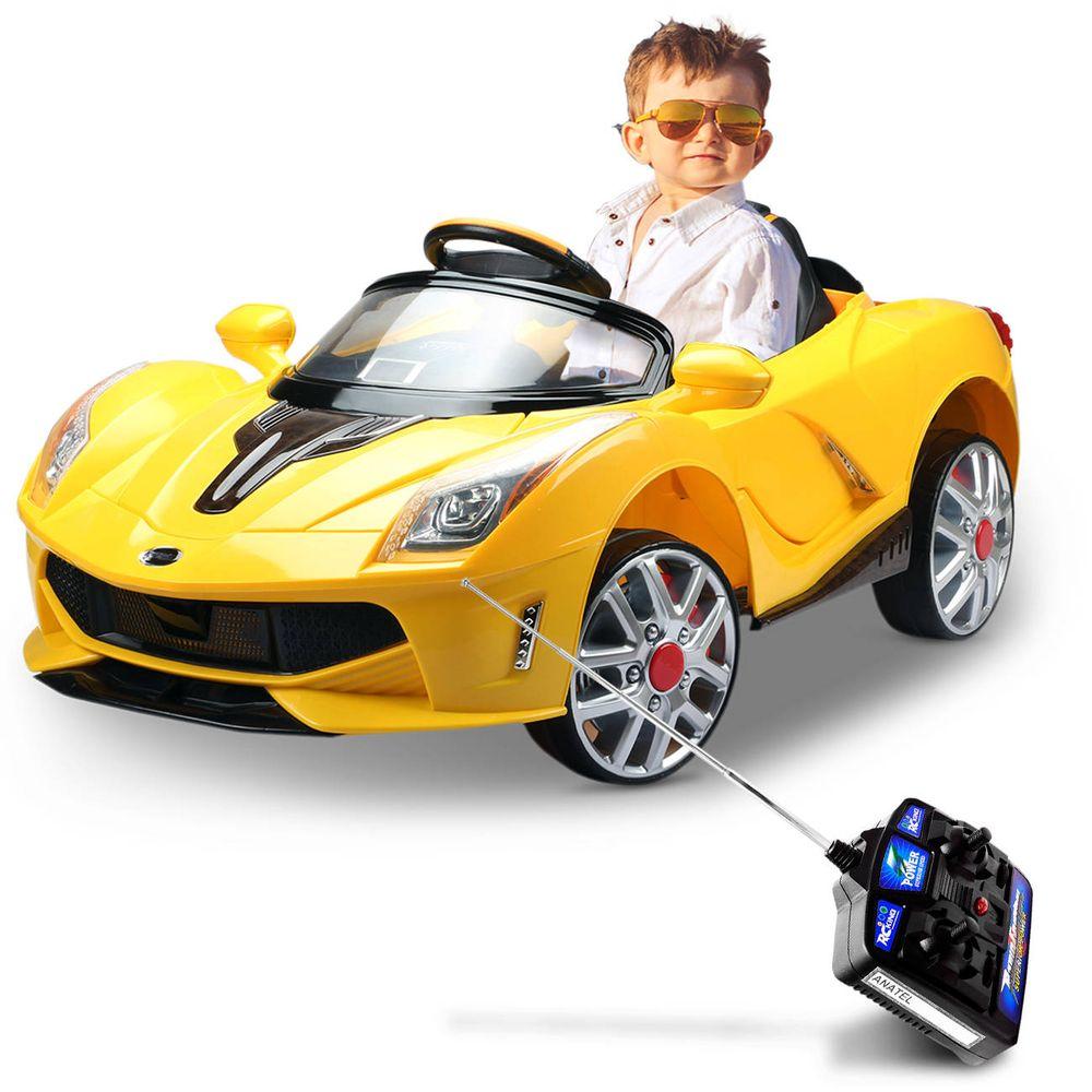 f875332823406 Carro Elétrico Infantil Luxo Amarelo 6V MP3 - Connect Parts