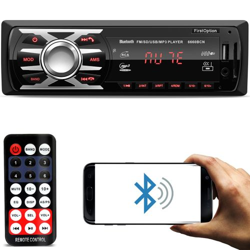 MP3-Player-Automotivo-First-Option-6660BCN1-Din-Bluetooth-USB-SD-AUX-AM-FM-RCA-Display-LED-connectparts---1-