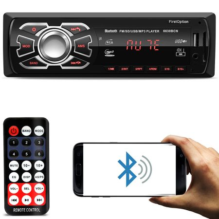 MP3-Player-Automotivo-First-Option-6630BCN-1-Din-Bluetooth-USB-SD-AUX-AM-FM-RCA-Display-LED-connectparts---1-