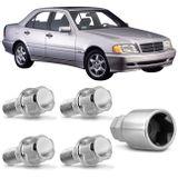 Jogo-4-Porcas-Antifurto-Cromadas-Roda-M12-x-15-Classe-E-1993-a-2001-com-Chave-Segredo-connectparts---1-