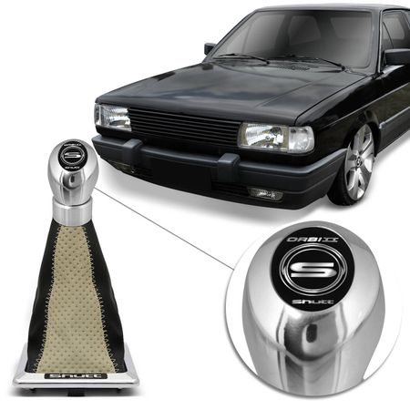 Kit-Coifa-Cambio-Shutt-Gol-Saveiro-G1-87-94-Preta-e-Bege-Curta---Manopla-Orbitt-G1-Aluminio-Cromado-Connect-Parts--1-