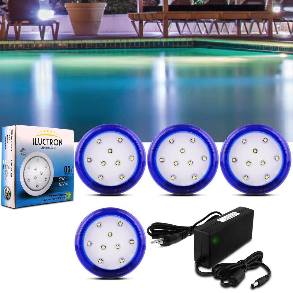 2b536ad4fb Kit 4 Luminárias LED Piscina Iluctron 6500K 80mm 36W 3960 Lúmens 12V Azul +  Fonte LED Bivolt 60W 5A