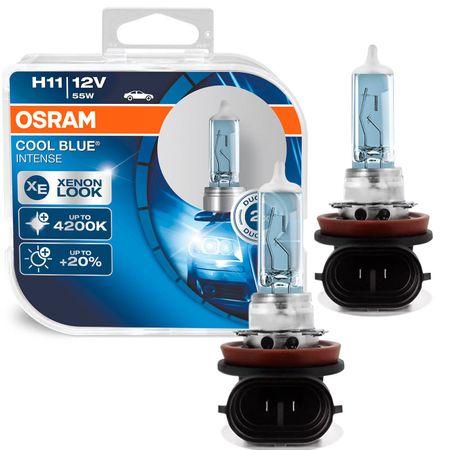 Par Lâmpada Osram Cool Blue Intense H11 Luz Super Branca Visual Xenon 4200K