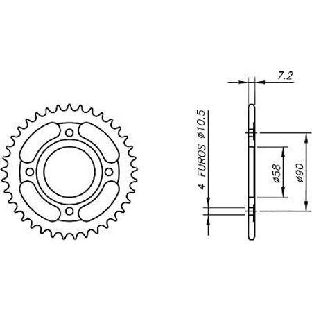 Coroa-Temperada-HONDA-CB125-10-5-HOLE-Todos-Anos-HA04.339T-VAZ-Connect-Parts-2