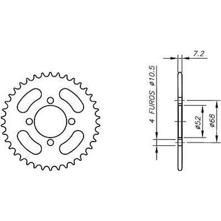 Coroa-Temperada-KAWASAKI-K1-K110-2000-A-2003-KA01.345T-VAZ-Connect-Parts-2