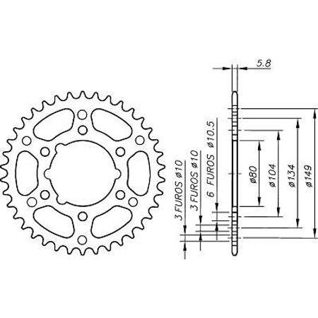 Coroa-Temperada-POLARIS-250-2x4-1993-A-1993-DA10.340T-VAZ-Connect-Parts-2