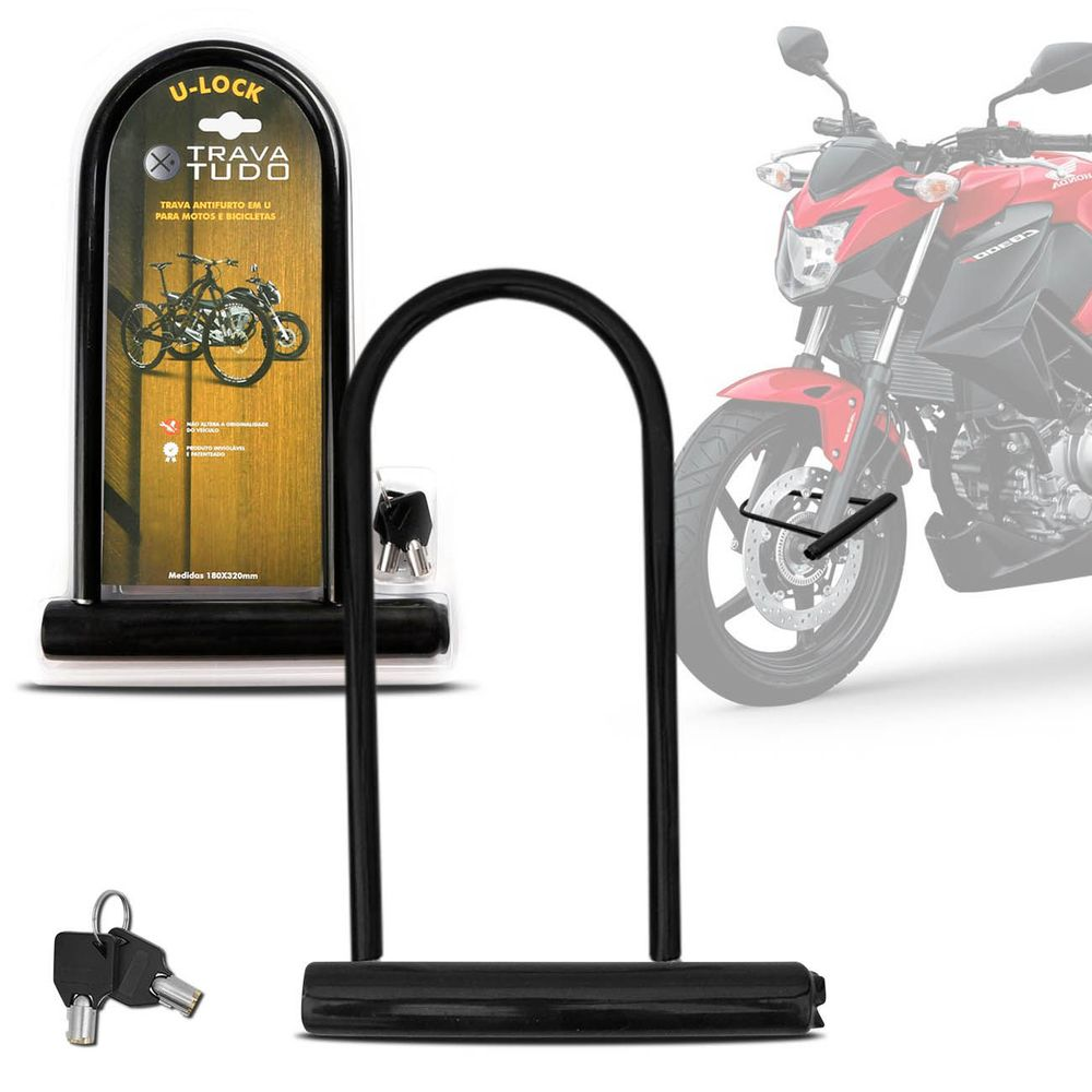 79834fa97 Cadeado U-Lock para Bicicleta e Moto Universal Trava Segurança Antifurto  Preto com Chaves