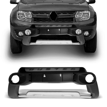 Overbumper-Duster-Oroch-2015-2016-Preto-Com-Prata-Front-Bumper-Aluminium-Alojamento-Para-Milha-connectparts--1-