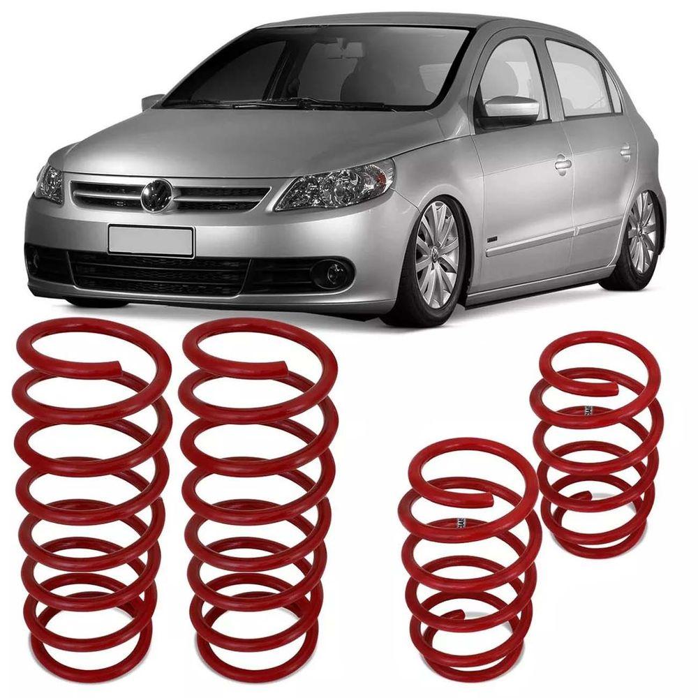 cecc239c63d2a Jogo de Molas Esportivas Volkswagen Gol G5 2009 a 2012 G6 2013 a 2015  Suspensão em Aço Vermelho