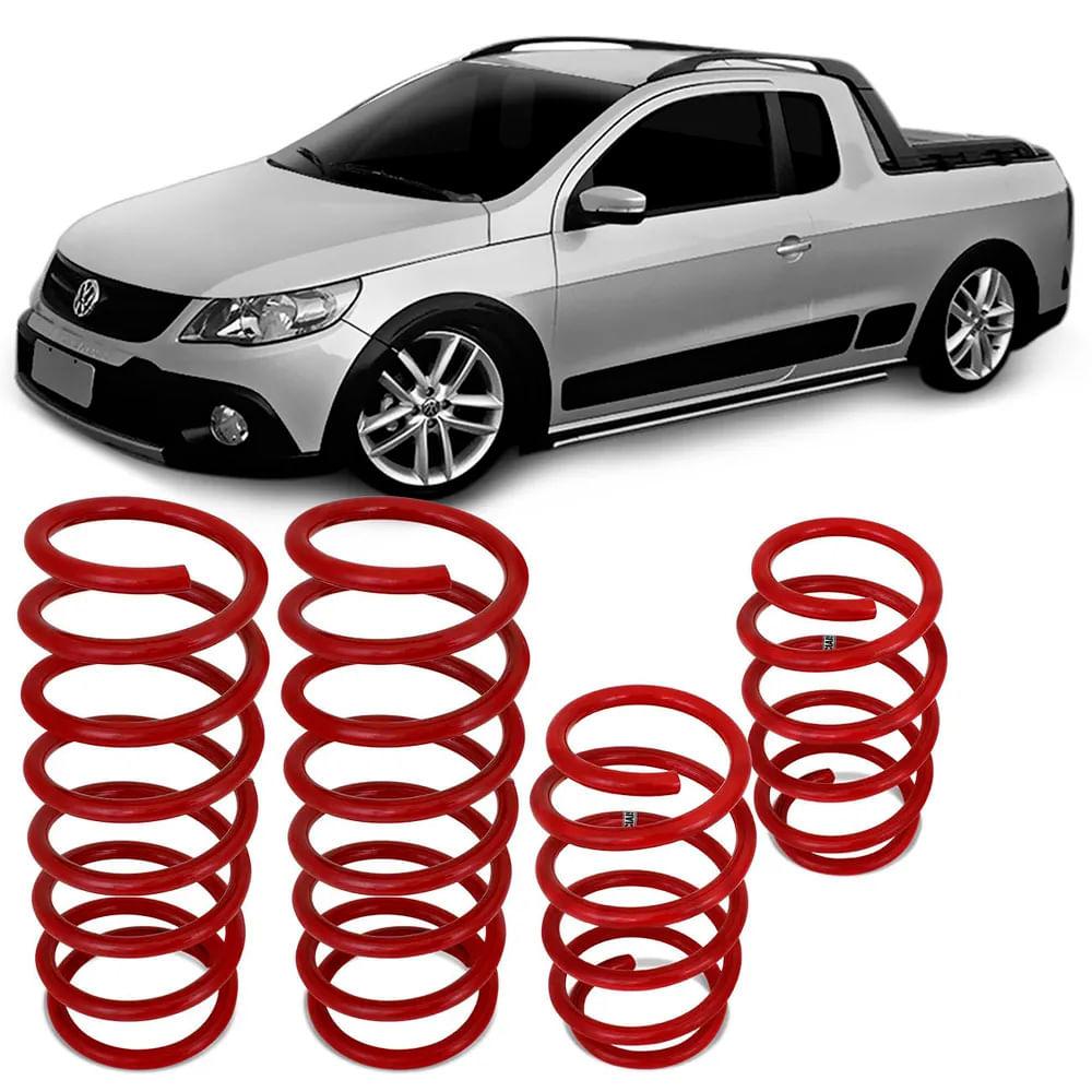9f6579980 Jogo de Molas Esportivas Volkswagen Saveiro G5 2010 a 2013 e G6 2014 2015  Suspensão em Aço Vermelho