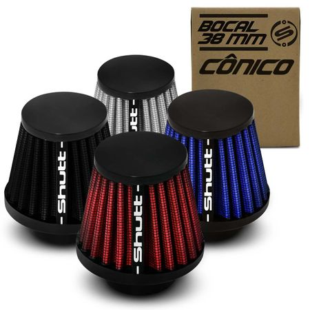 Filtro-de-Ar-Esportivo-Moto-Tunning-MonoFluxo-38mm-Conico-Lavavel-Shutt-Base-Borracha-Maior-Potencia-connectparts---1-