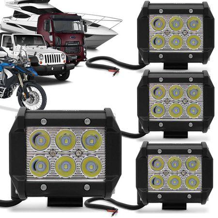 Kit-4x-Farol-de-Milha-Quadrado-18W-Universal-6x3W-LEDs-6000K-Carro-Moto-Caminhao-Jeep-connectparts--1-