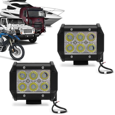 Kit-2x-Farol-de-Milha-Quadrado-18W-Universal-6x3W-LEDs-6000K-Carro-Moto-Caminhao-Jeep-connectparts---1-