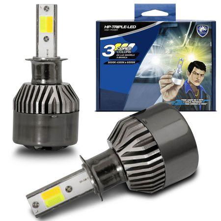 Par-Lampadas-Automotivas-Super-LED-Triple-Color-H1-3000K-4300K-6000K-Luz-Amarela-e-Luz-Branca-22W-4800-Lumens-12V-e-24V-Efeito-Xenon-Carro-Moto-e-Caminhao-connectparts--1-