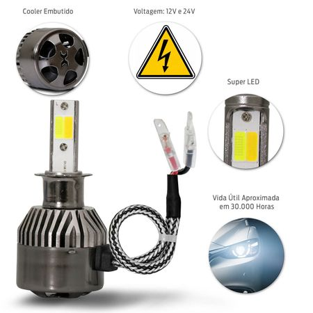 Par-Lampadas-Automotivas-Super-LED-Triple-Color-H1-3000K-4300K-6000K-Luz-Amarela-e-Luz-Branca-22W-4800-Lumens-12V-e-24V-Efeito-Xenon-Carro-Moto-e-Caminhao-connectparts--3-