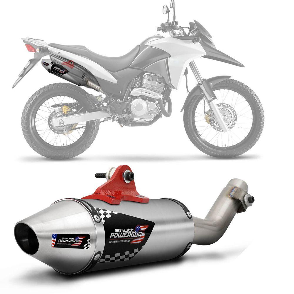 b0d601543a0 Escapamento Moto Esportivo Honda XRE 300 2009 e 2018 Shutt Powergun Aço  Inox Ponta Prata Escovado