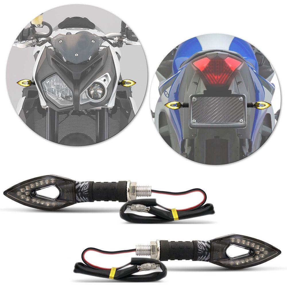 9c65cb4729598 Pisca Seta Moto Sport LED Âmbar Carbon Lente Fumê Com Plug De Borracha  Flexível Universal Par