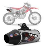 Escapamento-Esportivo-Shutt-Powergun-Honda-CRF-230-08-09-10-11-12-13-14-15-16-17-18-Aco-Inox-com-Ponta-Prata-Escovado-Motos-connectparts--1-