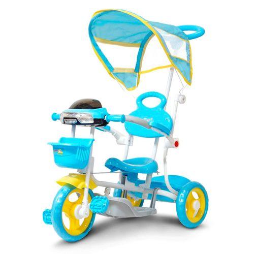 Triciclo-Infantil-Azul-2-Em-1-Haste-Para-Empurrar-E-Pedal-Duas-Cestas-Toca-Musica-Acende-Farol-connectparts--1-