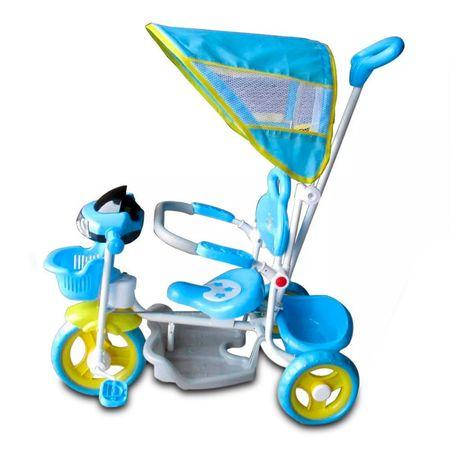 Triciclo-Infantil-Azul-2-Em-1-Haste-Para-Empurrar-E-Pedal-Duas-Cestas-Toca-Musica-Acende-Farol-connectparts--2-